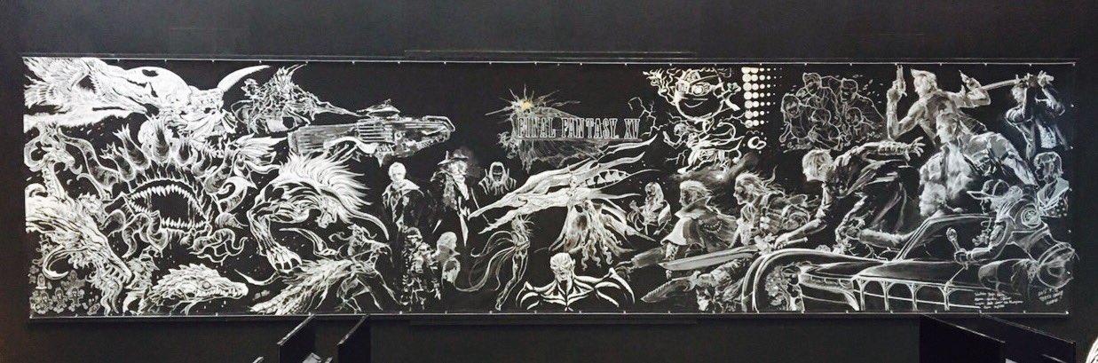 L'équipe artistique de FFXV a réalisé cette énorme fresque pendant la durée du salon